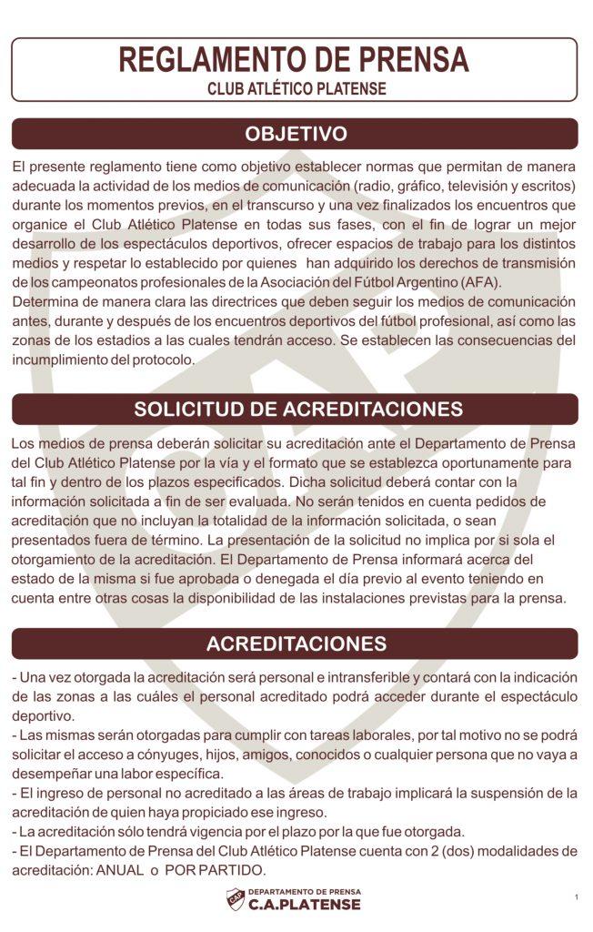 REGLAMENTO DE PRENSA C.A 1