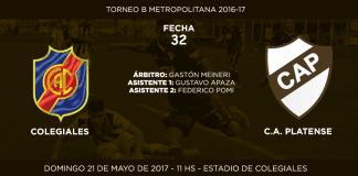 Anuncio partido Colegiales vs Platense