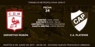 Anuncio de partido Morón vs Platense