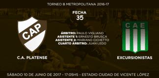 Anuncio de partido Platense vs Excursionistas