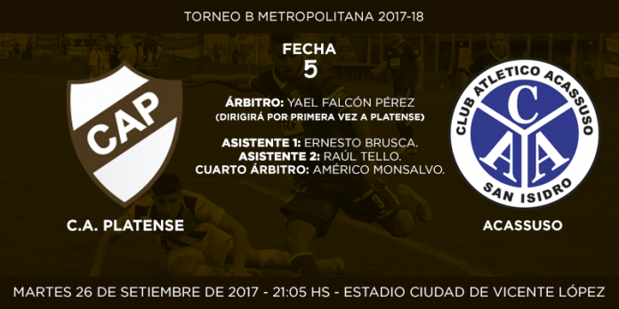 Placa anuncio de partido Platense vs Acassuso